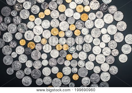 Over head view of Australian currency coins