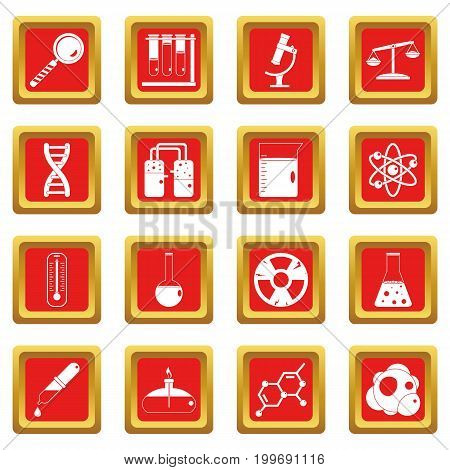 Chemical laboratory icons set in red color isolated vector illustration for web and any design