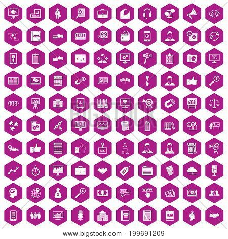100 business training icons set in violet hexagon isolated vector illustration