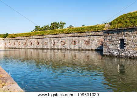 HAMPTON, VIRGINIA - JULY 9, 2017:  Fort Monroe, completed in 1836, became notable as an historic and symbolic site of early freedom for former slaves under the provisions of contraband policies.