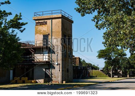 HAMPTON, VIRGINIA - JULY 9, 2017:  Battery Parrott was a concrete, Endicott-period, 12-inch gun battery at Fort Monroe.  Guns were mounted on the top level and magazines on the lower level.