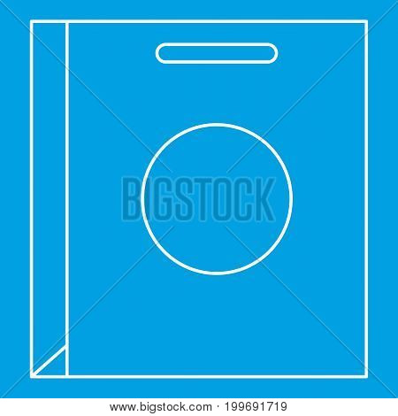 Paper bag icon blue outline style isolated vector illustration. Thin line sign