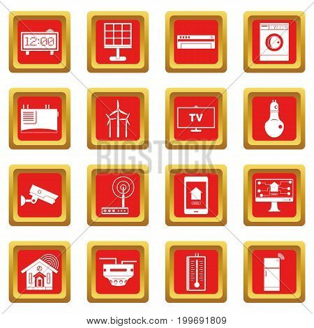 Smart home house icons set in red color isolated vector illustration for web and any design