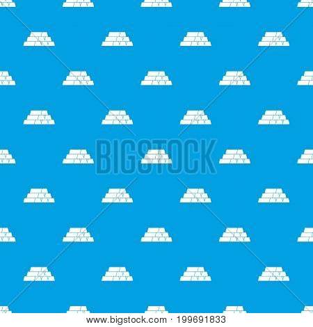 Gold bar pattern repeat seamless in blue color for any design. Vector geometric illustration