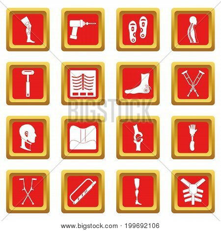Orthopedics prosthetics icons set in red color isolated vector illustration for web and any design