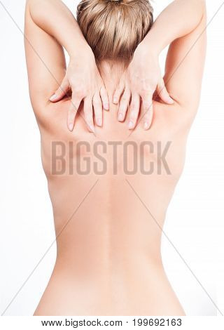Woman Has Neck Pain. Nude Shoulders Girl From The Back.