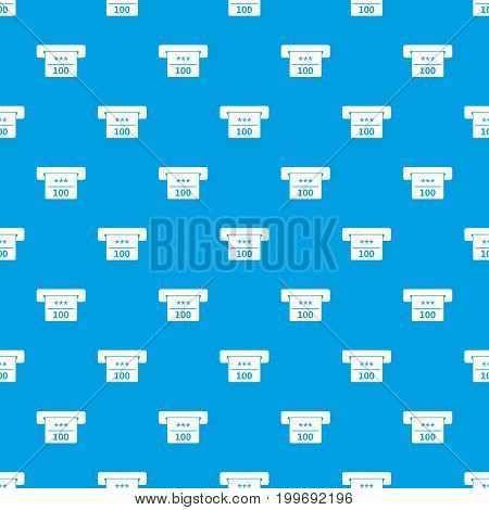 Winning cheque in casino pattern repeat seamless in blue color for any design. Vector geometric illustration
