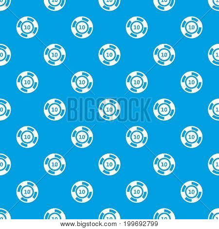 Casino chip pattern repeat seamless in blue color for any design. Vector geometric illustration