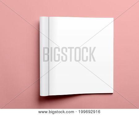 Blank Open Magazine Isolated On Pink Background