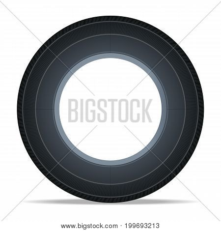 Side view vehicle tire icon. Consumables for car, auto service concept, wheel vehicle isolated on white background vector illustration.