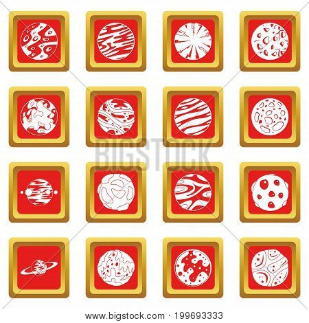 Fantastic planets icons set in red color isolated vector illustration for web and any design