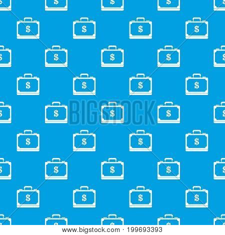 Briefcase full of money pattern repeat seamless in blue color for any design. Vector geometric illustration