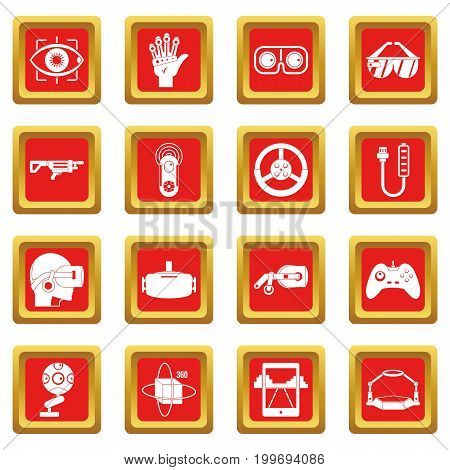 Virtual reality icons set in red color isolated vector illustration for web and any design