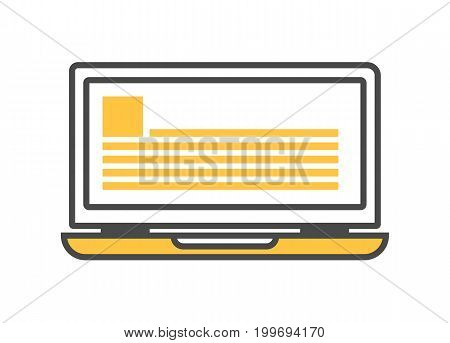 Notebook computer isolated linear icon. Modern technology gadget, electronic smart device isolated on white background vector illustration.