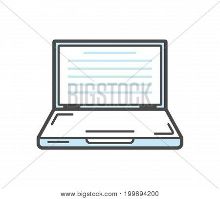 Laptop isolated linear icon. Modern technology gadget, electronic smart device isolated on white background vector illustration.