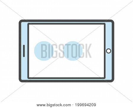 Tablet PC isolated linear icon. Modern technology gadget, electronic smart device isolated on white background vector illustration.