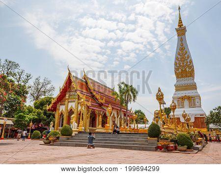NAKHON PRANOM THAILAND - MARCH 26: Wat Phra That Phanom Buddhist temple MAR 262016 Nakhon Pranom Thailand. Wat Phra That Phanom Buddhist temple