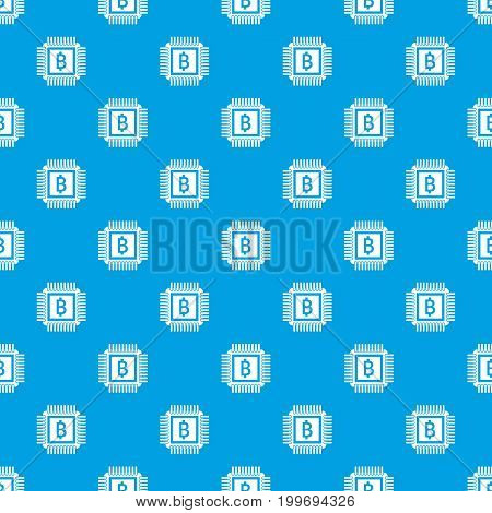 Chip pattern repeat seamless in blue color for any design. Vector geometric illustration