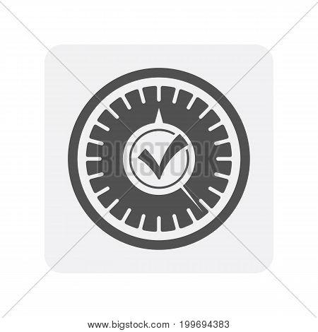 Car diagnostics icon with speedometer element. Auto repair service symbol, automotive center pictogram isolated vector illustration