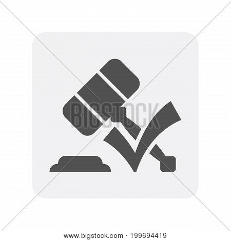 Credit worthiness icon with gavel element. Credit score symbol, financial history, commercial bank pictogram isolated vector illustration