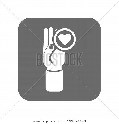 Customer service icon with hand up sign. Support management, service centre pictogram isolated vector illustration.