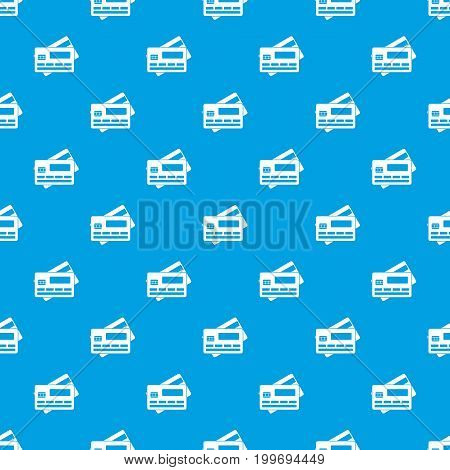 Credit card pattern repeat seamless in blue color for any design. Vector geometric illustration