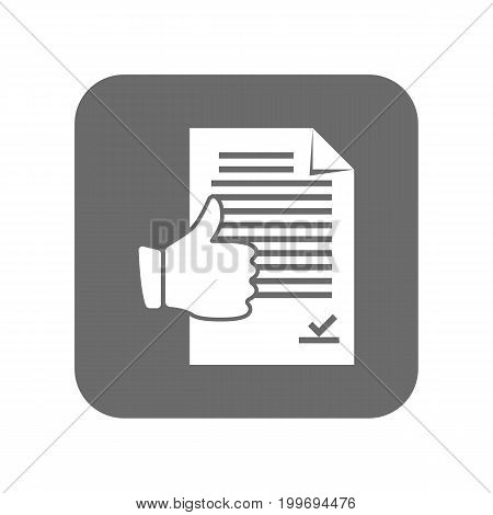 Customer service icon with thumb up sign. Support management, service centre pictogram isolated vector illustration.