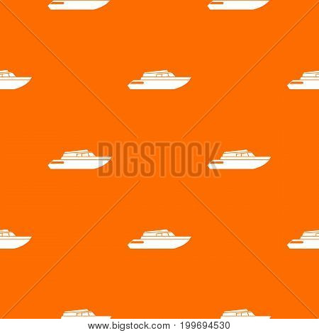 Planing powerboat pattern repeat seamless in orange color for any design. Vector geometric illustration