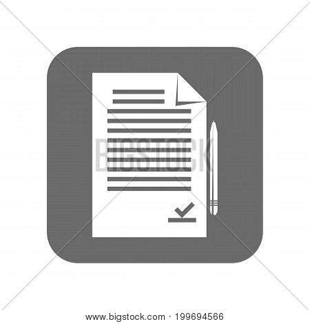 Customer service icon with paper document. Support management, service centre pictogram isolated vector illustration.
