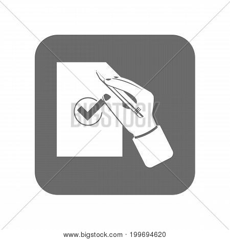 Customer service icon with approved sign. Support management, service centre pictogram isolated vector illustration.