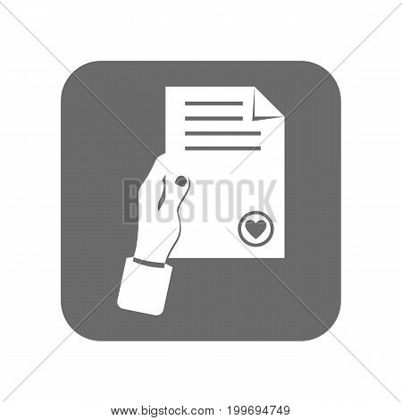 Customer service icon with document sign. Support management, service centre pictogram isolated vector illustration.