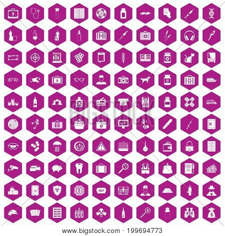 100 case icons set in violet hexagon isolated vector illustration