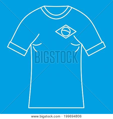 Brazilian football t shirt icon blue outline style isolated vector illustration. Thin line sign