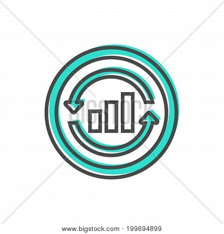 Data sorting icon with chart sign. Data analysis, business analytics pictogram isolated vector illustration.