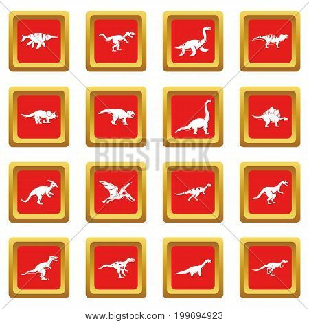 Dinosaur icons set in red color isolated vector illustration for web and any design