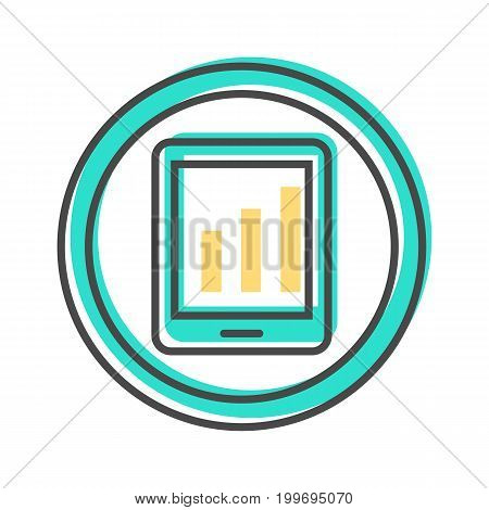 Data sorting icon with chart on tablet PC screen. Data analysis, business analytics pictogram isolated vector illustration.