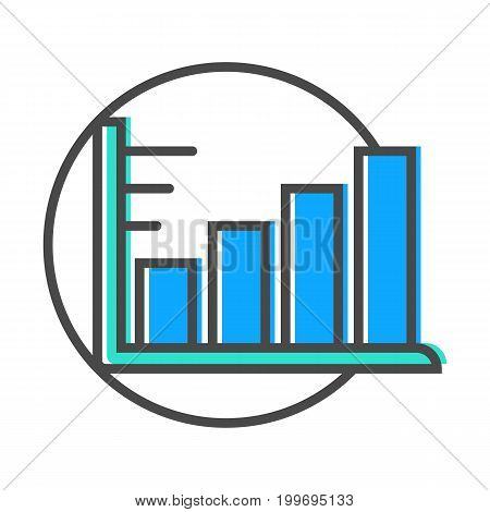 Data stream linear icon with diagram sign. Financial data analysis, business analytics pictogram isolated vector illustration.
