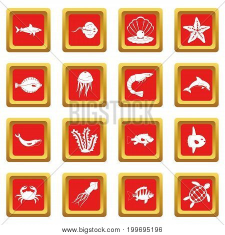 Sea animals icons set in red color isolated vector illustration for web and any design