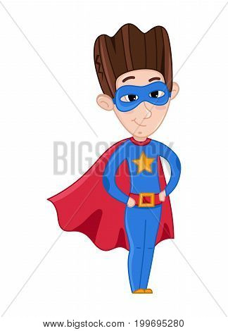 Little boy in superman costume and red cloak. Interesting children life, happy childhood, emotion kid cartoon character isolated on white background vector illustration.