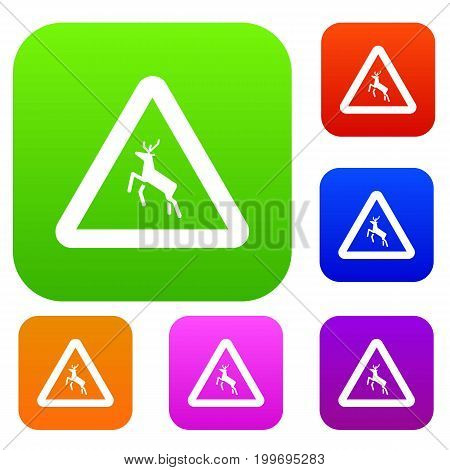 Deer traffic warning sign set icon in different colors isolated vector illustration. Premium collection