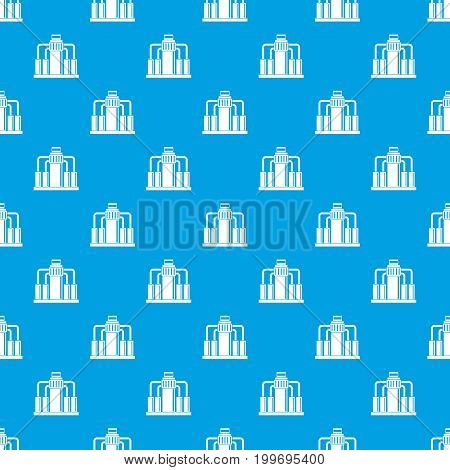 Oil refining pattern repeat seamless in blue color for any design. Vector geometric illustration