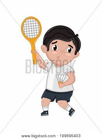 Little boy in tennis uniform holding racket. Interesting children life, happy childhood, emotion kid cartoon character isolated on white background vector illustration.
