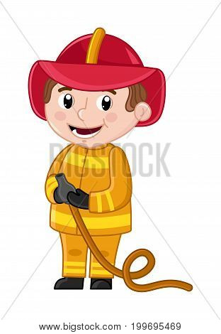 Smiling boy in fireman uniform with hose. Professional occupation concept, happy childhood, emotion kid cartoon character isolated on white background vector illustration.