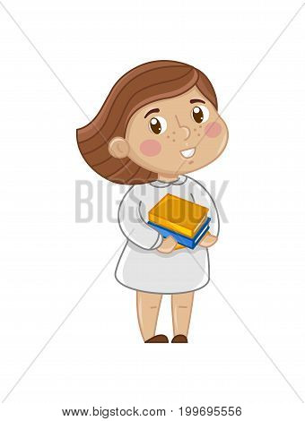 Smiling little girl with books. Interesting children life, happy childhood, emotion kid cartoon character isolated on white background vector illustration.
