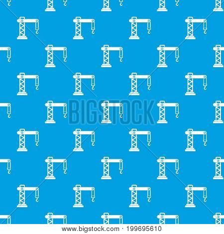 Crane pattern repeat seamless in blue color for any design. Vector geometric illustration