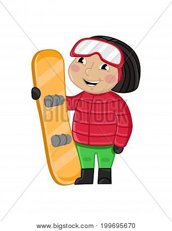 Smiling little girl in winter clothes holding skateboard. Interesting children life, happy childhood, emotion kid cartoon character isolated on white background vector illustration.