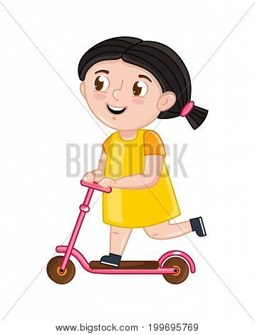 Smiling little girl riding on kick scooter. Interesting children life, happy childhood, emotion kid cartoon character isolated on white background vector illustration.
