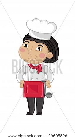 Smiling girl in cook uniform with ladle. Professional occupation concept, happy childhood, emotion kid cartoon character isolated on white background vector illustration.