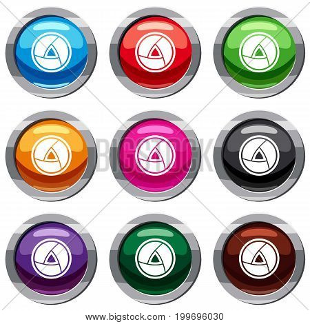 Objective set icon isolated on white. 9 icon collection vector illustration