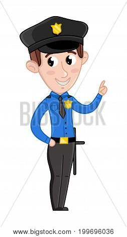 Smiling boy in policeman uniform. Professional occupation concept, happy childhood, emotion kid cartoon character isolated on white background vector illustration.
